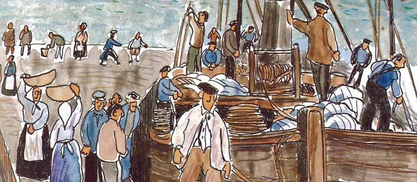 Llegada a puerto de un patache (detalle).