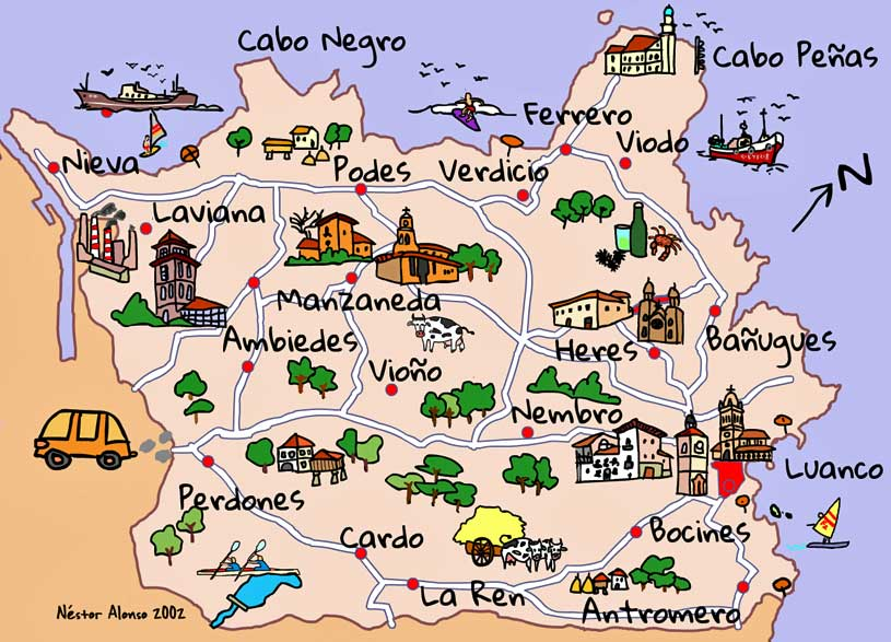 Mapa para folleto turístico.